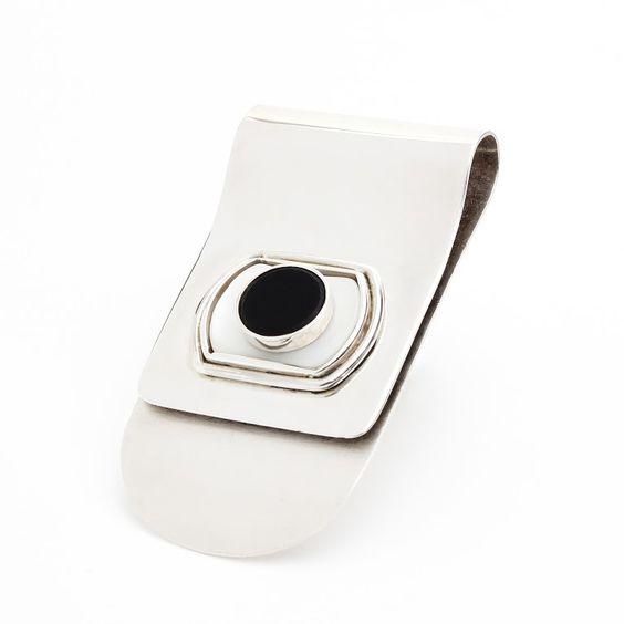 Prensa Billete Escudo, madre perla tallada a mano, onix negro.