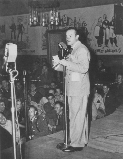 Bob Hope broadcasts his popular radio show from the famous Hollywood Canteen during World War II.