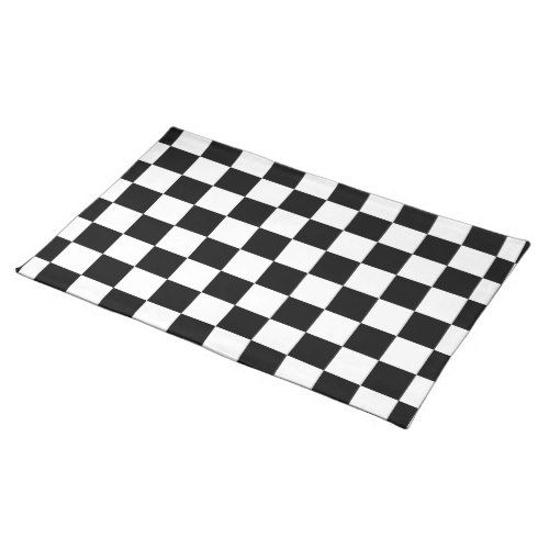 Racing Check Black White Checkered Cloth Placemat Zazzle Com Black And White Design Placemats Checkered