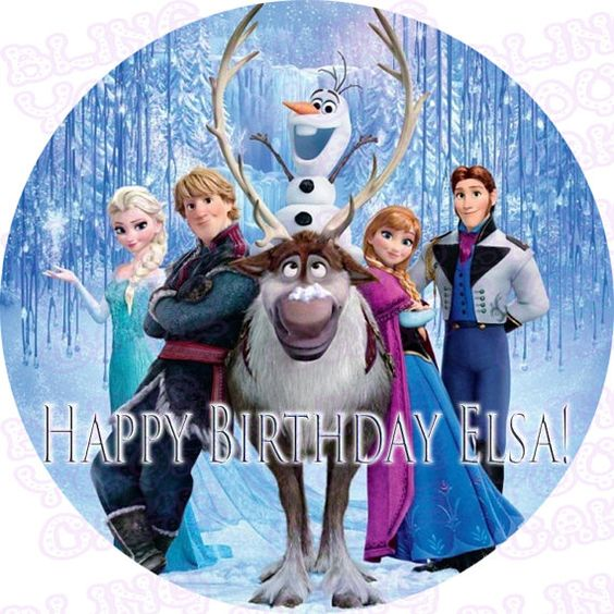 Disney Frozen Inspired Round Edible Icing Sheet by BlingYourCake, $10.99