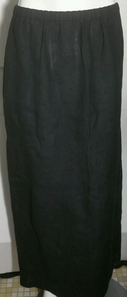 Eileen Fisher Skirt Black Medium M Irish Linen Modesty Maxi Long     #EileenFisher #Maxi
