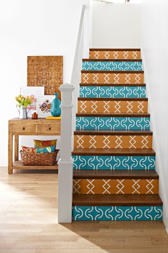 Turquoise and orange painted steps!