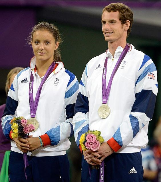 Andy Murray with Laura Robson and their silver medals in mixed doubles