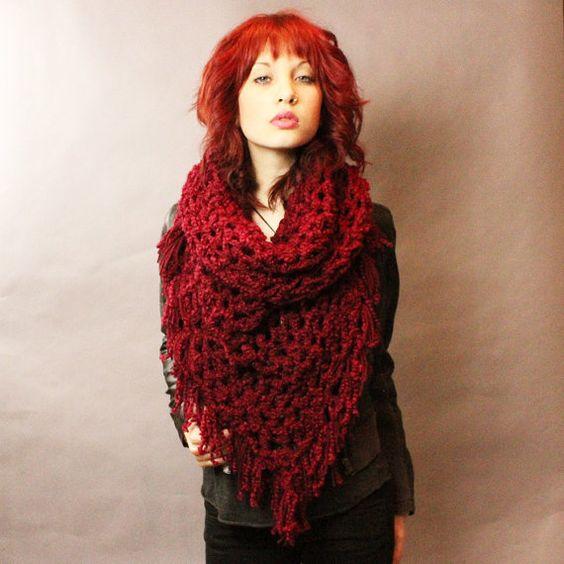The Fringe Cowl neck scarf hood shawl vegan por HookedWear en Etsy