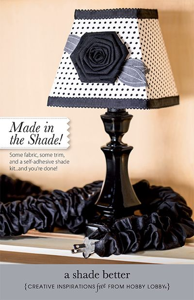 all you need to made this diy lampshade is some fabric some trim and a self adhesive shade kit. Black Bedroom Furniture Sets. Home Design Ideas