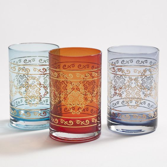 MARRAKECH TUMBLERS, SET OF 3    $11.97: Tumblers Set, Moroccan Tumblers, Marrakech Tumblers, Marrakesh Tumblers, Worldmarket Cup, Colored Glass