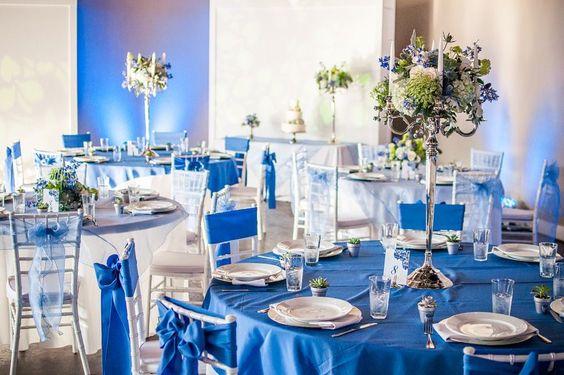 Blue wedding flowers candelabra centerpiece shabby chic  Www.sophisticatedfloral.com #sophisticatedfloral #centerpiece  #weddingflowers