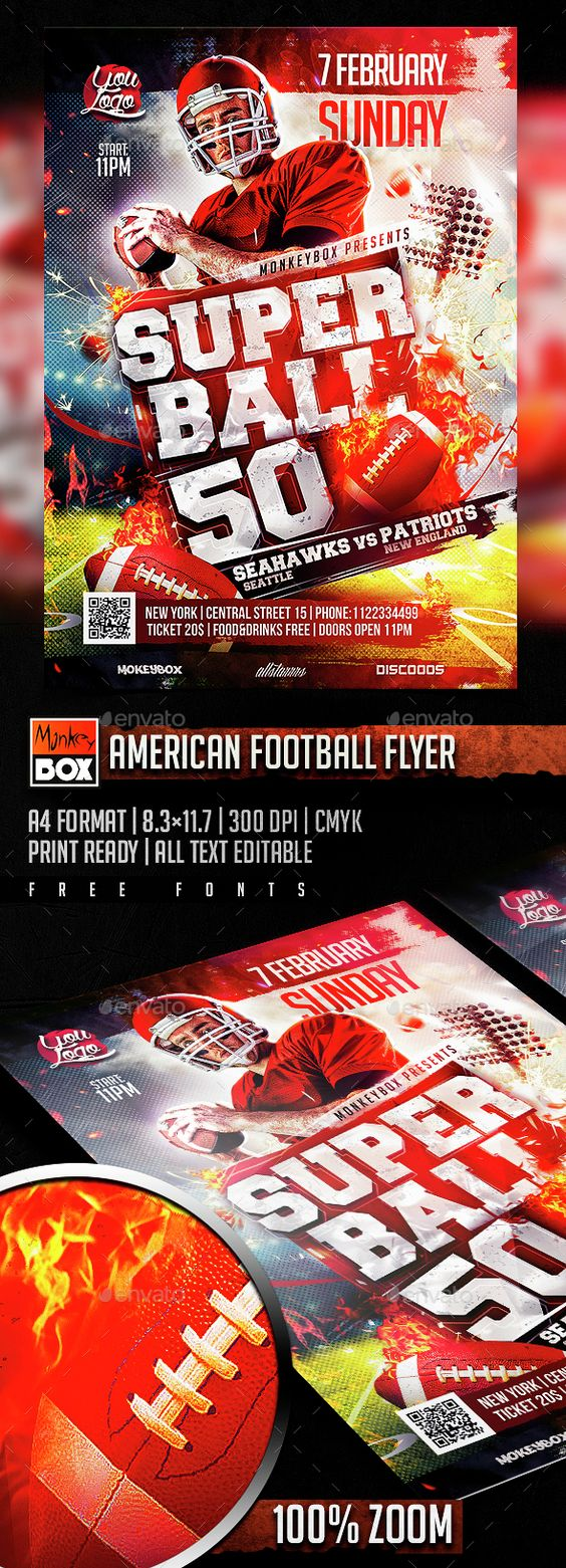 American Football Flyer Template PSD. Download here: http://graphicriver.net/item/american-football-flyer/14578980?ref=ksioks