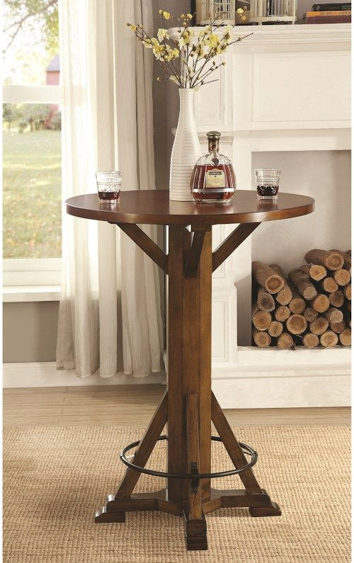 Coaster Bar Units And Tables Rustic, Round Wood Bar Table