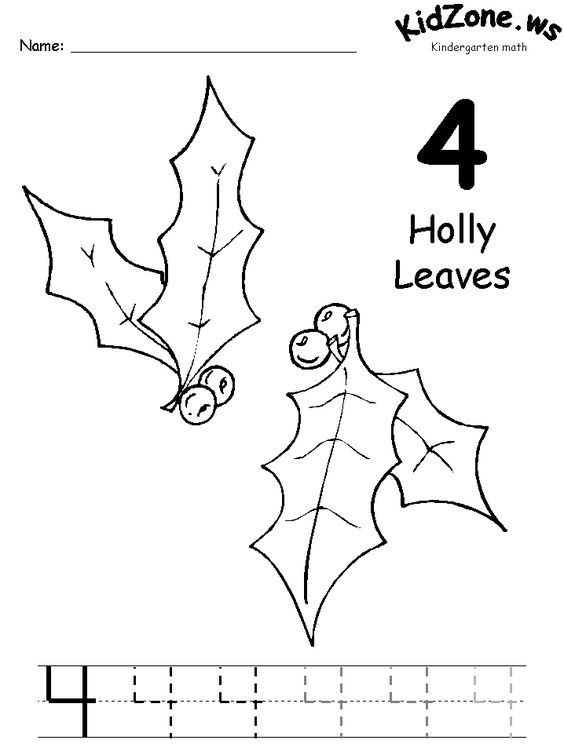 Free Worksheets preschool christmas math activities : Christmas Coloring Pages for Preschool | ... leaves 3 christmas ...