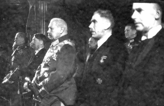 Members of the German leadership attend a ceremony honoring German soldiers killed in World War I at the National Opera in Berlin. Pictured from right to left are: Frick, Franz von Papen, Paul von Hindenburg, Adolf Hitler and Werner von Blomberg. (March 12, 1933 Hoffmann  )