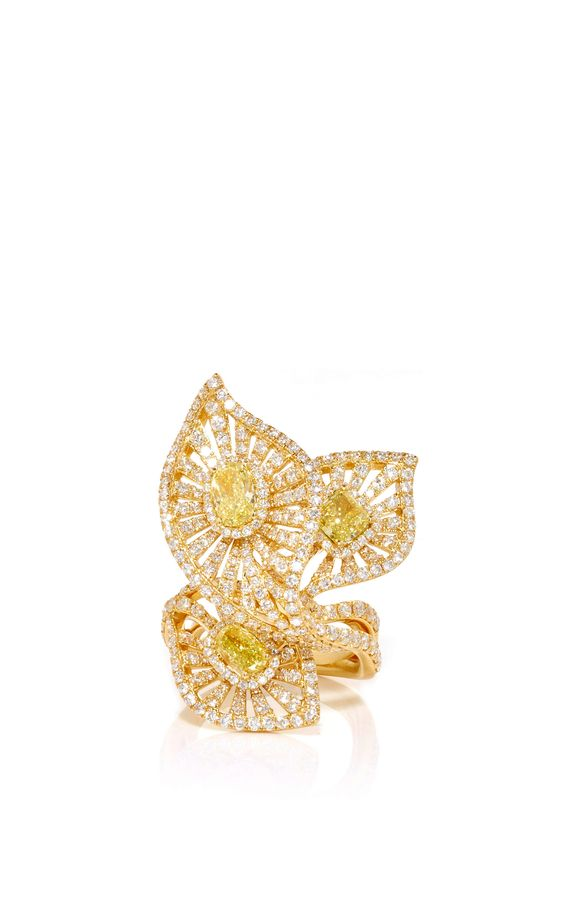 Fancy Yellow and White Diamond Ring in 18K Yellow Gold by Giovane for Preorder on Moda Operandi
