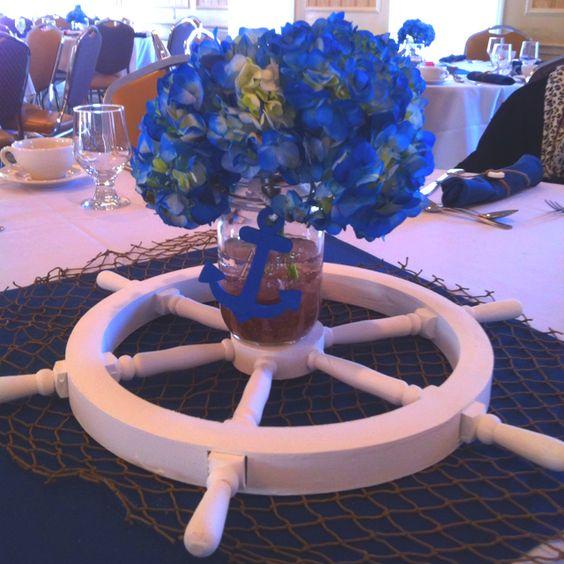 Anchor rope, Ship wheel and Hydrangeas