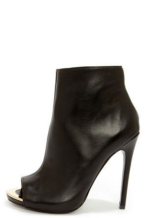 Steve Madden Dianna Black Leather Peep Toe High Heel Booties ...
