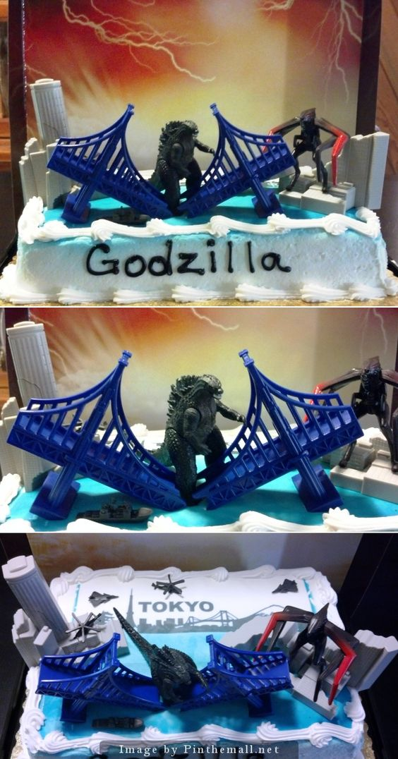 GODZILLA LIVES! Had the bakery {Fred Meyers, Salem, OR} add my photo of Tokyo skyline and ocean, then added New 2014 Godzilla and monster destruction set to cake. - created via http://pinthemall.net