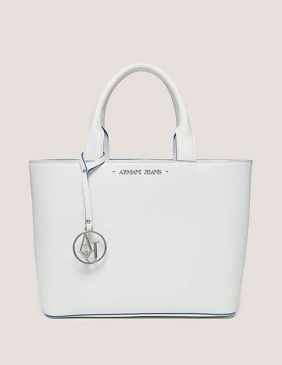 white Armani Jeans Small Soft Leather Shopper