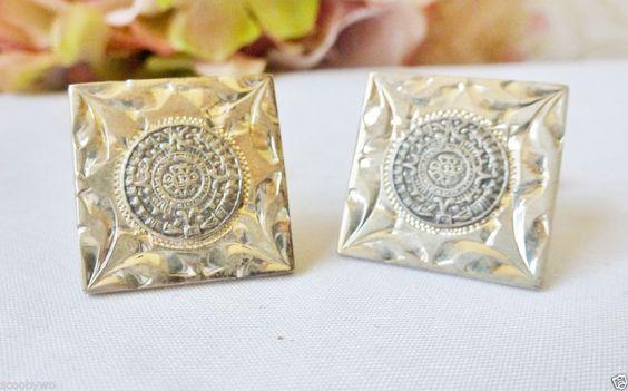 Vintage Cufflinks Sterling Silver Aztec Sterling Cuff links Signed