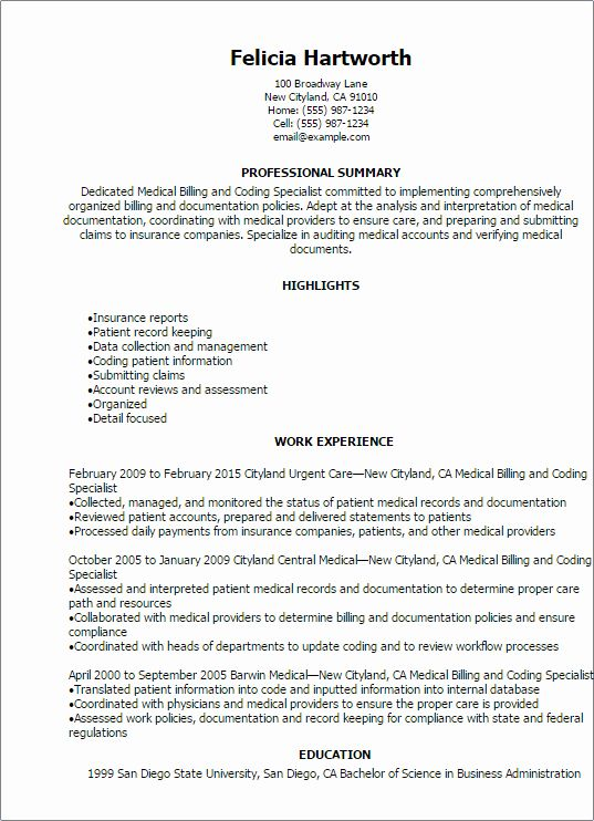 Certified Coding Specialist Resume Example New Medical Billing And