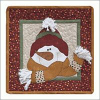 "All Bundled Up January. One of our monthly themed ""Little Quilts Squared"" patterns. http://www.kayewood.com/All-Bundled-Up-January-Pattern-by-The-Wooden-Bear-WB-AUBE.htm $6.50"