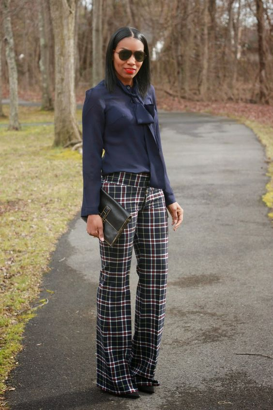 wide leg plaid pants - Pi Pants
