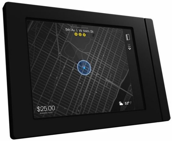 Cannot wait to get into a NYC cab with this on the back of the seat.  Aside from being silent (woohoo) it is sleek and informative.  30 cabs to start with...