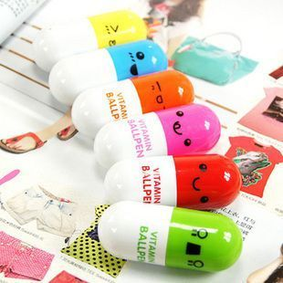 Vitamin Pills Cute Expressions Ball Point Pen. Novelty telescopic pen. Choose or random choice *Yellow *Blue *Green *Orange *Red *Fushia (SOLD OUT)