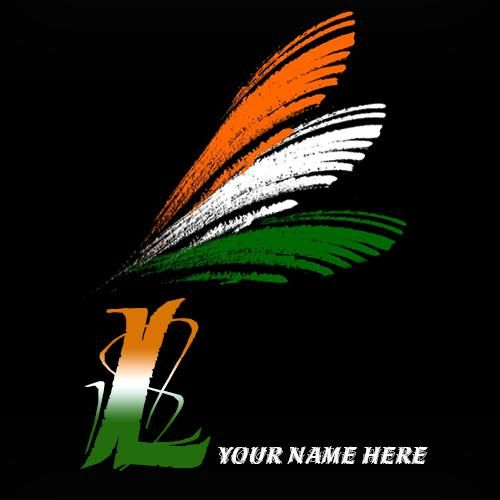 Write Your Name On L Alphabet Indian Flag Images Indian Flag Images Indian Flag Indian Flag Colors