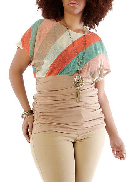 Plus-Size Cinched-Sides Striped Knit Top with Necklace