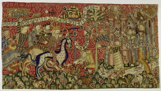 Storming the Castle Minne (tapestry), c. 1420, Strasbourg, Material / Technique: knitting, chain: linen, dyed, weft: wool, multiple colors, faces, embroidery, silk, multiple colors, Linen, undyed, split stitch, flat and raised satin stitch, sketch, warp density 6-7 fibers / cm, Dimensions: H. 88.5 cm; as 158 cm
