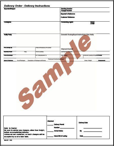 Doc585650 Sample of Delivery Order Form Delivery Order – Sample Delivery Receipt