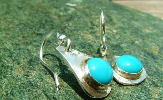 Sleeping Beauty Stone Earrings by MarlasJewelry on Etsy, $55.00 #handmadejewelry #sterlingsilver #turquoise #bluestone #earrings