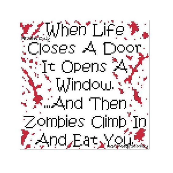 Funny Cross Stitch Pattern Instant Download Zombie by NeedleNosey, $3.50