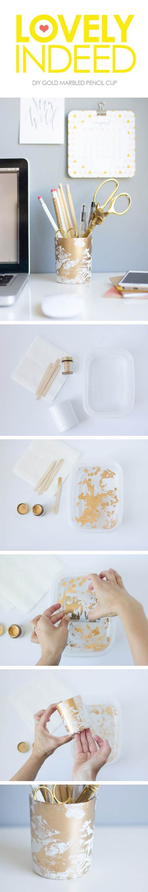Get Lovely Indeed's #DIY for this marble-inspired pencil cup made with Liquid Gilding from #marthastewartcrafts