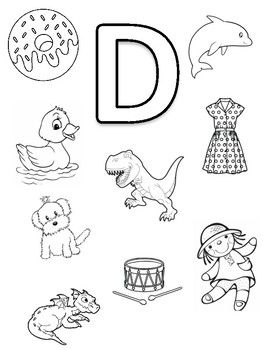 Letter D Coloring Page Coloring Page Featuring Objects That Begin With The Letter D Early C Alphabet Activities Preschool Letter D Worksheet Preschool Letters