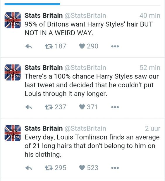 Just love stats britain! Why did they tweet about harrys hair just an hour before harry cuts it? Stats britain is harry styles?? #ripharryshair