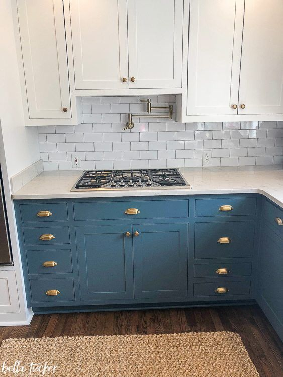 Blue And White Two Toned Kitchen Cabinets Bella Tucker Teal Kitchen Cabinets New Kitchen Cabinets Kitchen Design