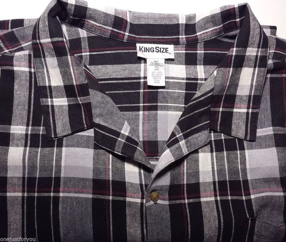 KingSize Big Tall 7XL Black Plaid Linen Rayon Mens Short Sleeve Shirt  #ButtonFront