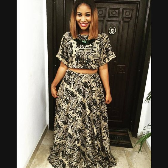 Print crop top and skirt by Ibitein Thompson #ibiteinthompson #letibiteinthompsondressyou #AfricanDesignersCorner