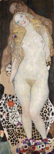 Gustav Klimt, Adán y Eva, 1917/1918, óleo sobre lienzo (sin terminar), 173 x 60 cm, Belvedere, Viena, inv  4402