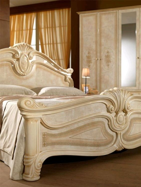 italienisches schlafzimmer rokko luxus 6 tlg bett komplett. Black Bedroom Furniture Sets. Home Design Ideas
