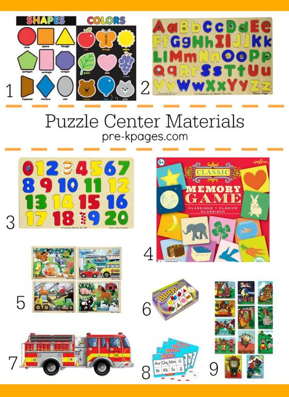 Puzzles and Games for Preschoolers. How to set up a puzzle and game center in your preschool or kindergarten classroom. Age-appropriate puzzles and games for children ages 3-5 plus organization and storage tips!
