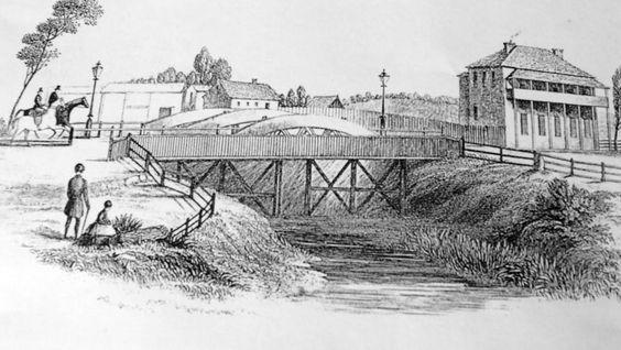 An  early  sketch of  Victoria Bridge, crossing Wallis Creek, dated 1853. Maitland NSW