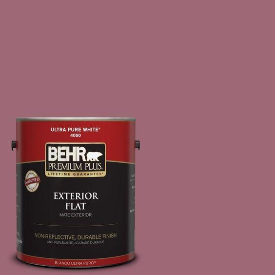 BEHR Premium Plus 1-gal. #100D-5 Berries and Cream Flat Exterior Paint