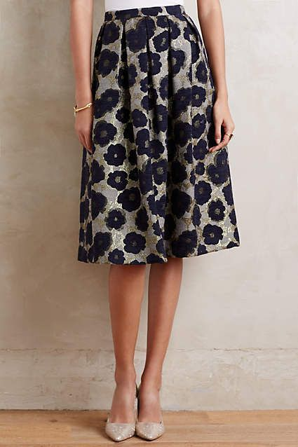 Floral Brocade Midi Skirt - anthropologie.com