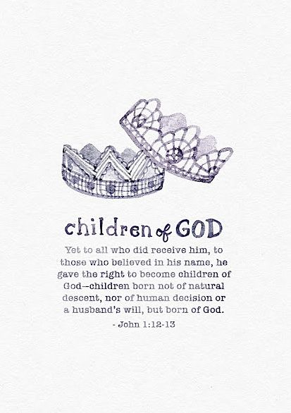 "John 1:12-13 to those who believed in His name, He gave ""THE RIGHT TO BECOME CHILDREN OF GOD"". AMEN"