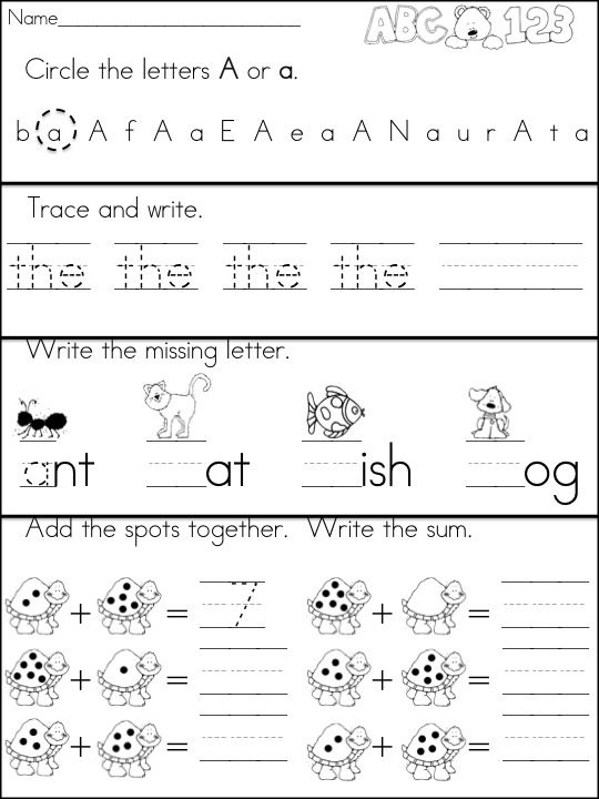 Kindergarten Morning Work Daily Language Arts and Math Review – Morning Worksheets for Kindergarten