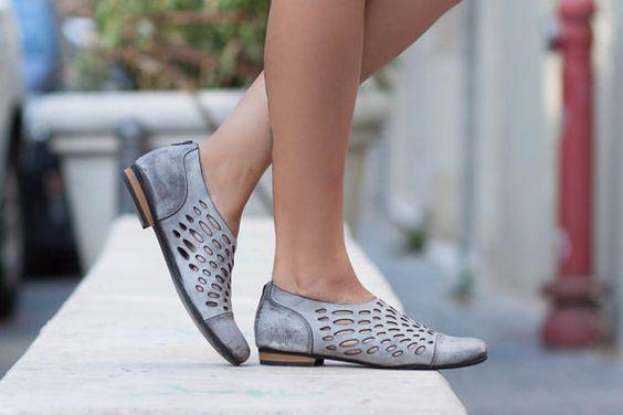 Nieuw! Lederen schoenen, lederen sandalen, vrouwen sandalen, schoenen van…