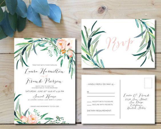 Printable Wedding Invitation Set   Wedding Invitation + RSVP postcard    Watercolor, modern, floral, botanical, bohemian, blush   Eucalyptus