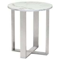 Modern Round Faux Marble Side Table Stone Brushed Stainless Steel Zm Home Marble End Tables Marble Side Tables End Tables