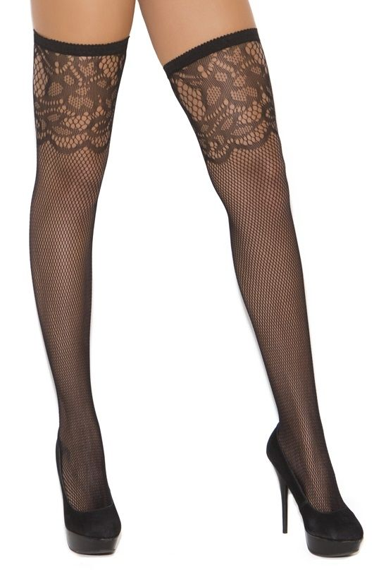 Sexy Elegant Moments Black Scroll Top Fishnet Thigh Highs Stocking Hosiery